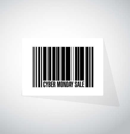 Cyber Monday Sale barcode message concept illustration design background Stock Illustratie