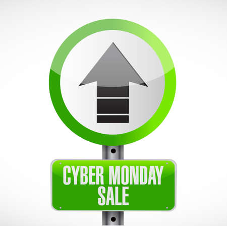 Cyber Monday Sale Street sign message concept illustration isolated over a white background