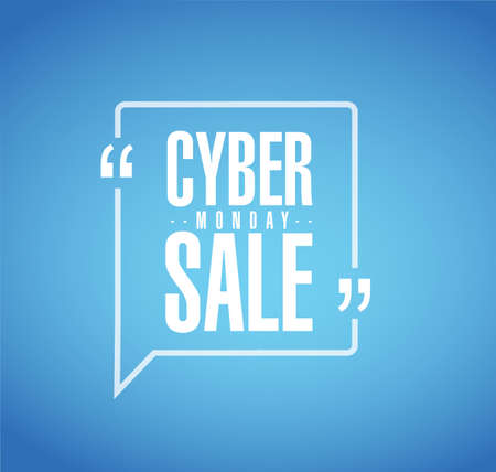 Cyber Monday Sale line quote message concept isolated over a blue background