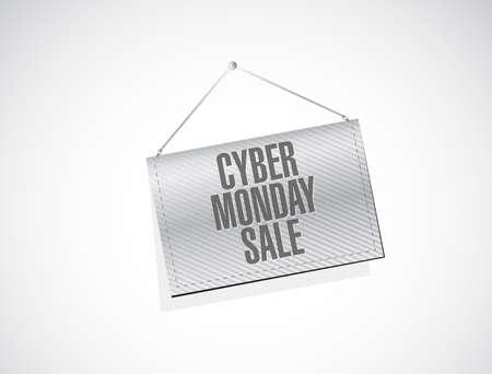 Cyber Monday Sale Hanging banner sign concept illustration design background
