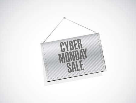 Cyber Monday Sale Hanging banner sign concept illustration design background