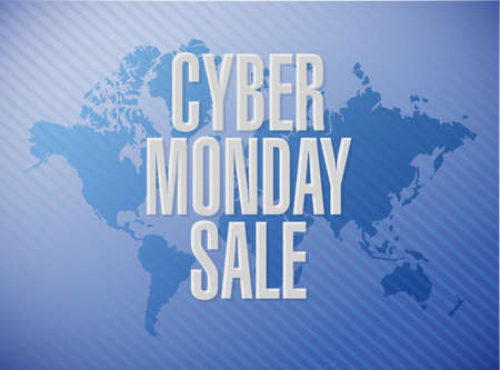 Cyber Monday Sale message concept illustration isolated over a world map background