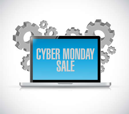 Cyber Monday Sale Computer message illustration isolated over a white background