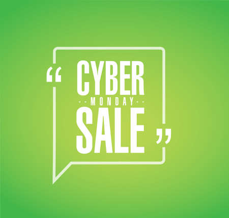 Cyber Monday Sale line quote message concept isolated over a green background