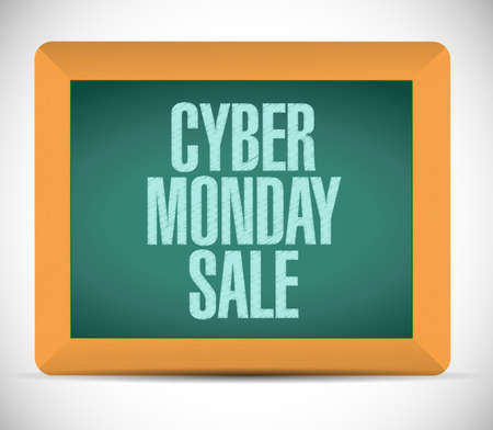Cyber Monday Sale chalkboard message concept illustration isolated over a white background