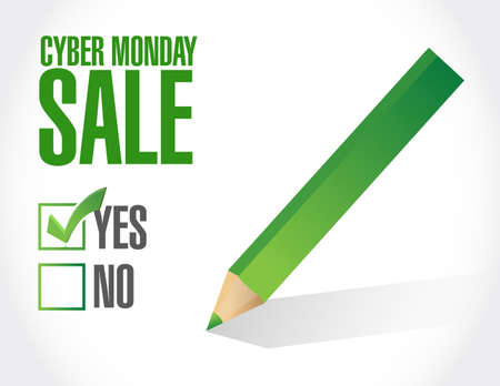Cyber Monday Sale approval check mark message concept illustration isolated over a white background