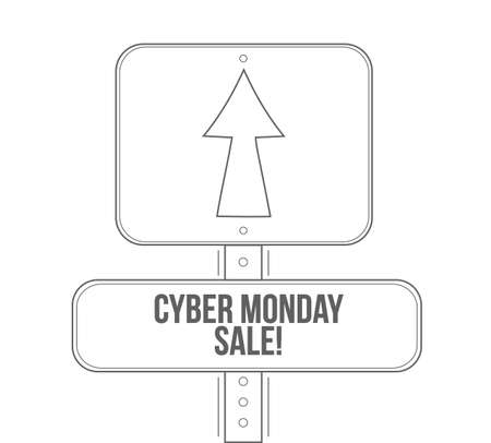 Cyber Monday Sale line street sign isolated over a white background
