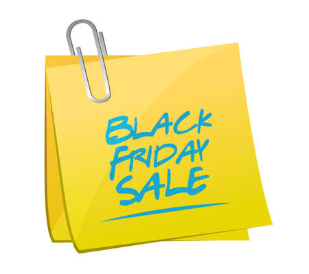 Black Friday sale post it message concept illustration isolated over a white background 向量圖像