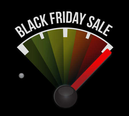 Black Friday sale speedometer message concept illustration isolated over a black background