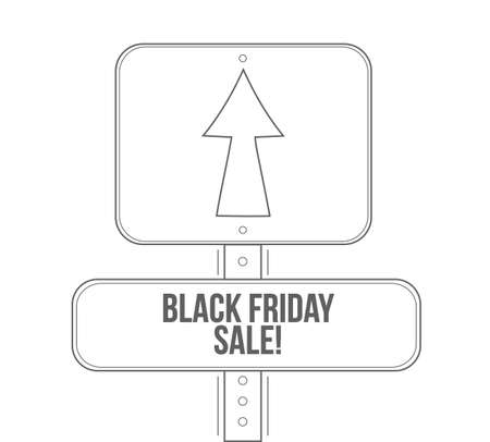Black Friday sale line street sign isolated over a white background  イラスト・ベクター素材