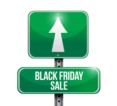 Black Friday sale Street sign message concept illustration isolated over a white background