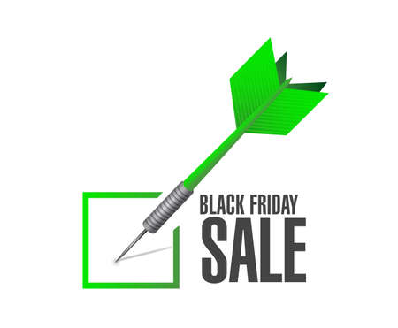Black Friday sale Approval check dart message concept illustration isolated over a white background Illustration