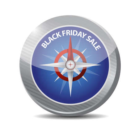 Black Friday sale compass sign message illustration isolated over a white background