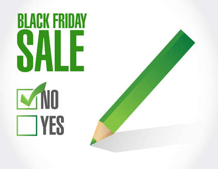 Black Friday sale no approval check mark message concept illustration isolated over a white background