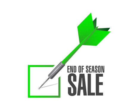 End of season sale, Approval check dart message concept illustration isolated over a white background