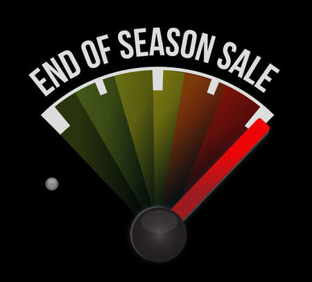 End of season sale, speedometer message concept illustration isolated over a black background Çizim