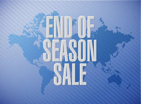 End of season sale, message concept illustration isolated over a world map background Illustration