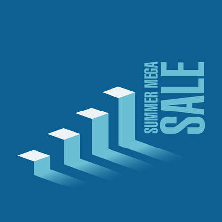 Summer mega Sale business graph message concept isolated over a blue background