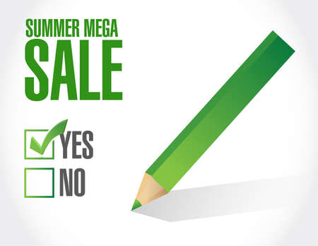 Summer mega Sale approval check mark message concept illustration isolated over a white background Ilustrace