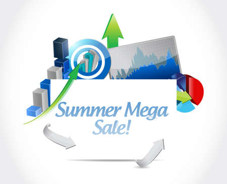 summer mega sale Business graph success concept illustration isolated over a white background