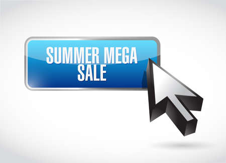 summer mega sale online button sign concept illustration isolated over a white background  イラスト・ベクター素材