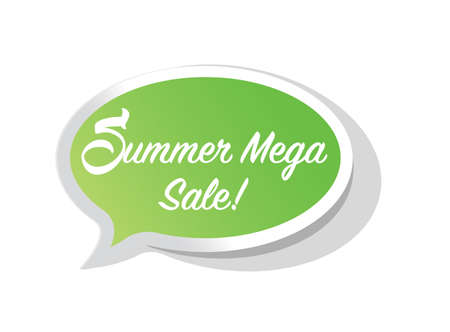 summer mega sale bright message bubble isolated over a white background