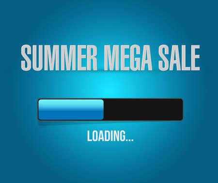 summer mega sale loading bar message concept illustration isolated over a blue background
