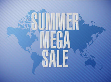 summer mega sale message concept illustration isolated over a world map background