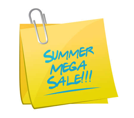 summer mega sale sticker notes message concept illustration isolated over a white background