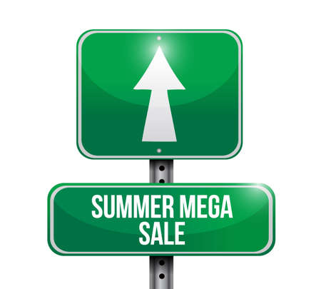 summer mega sale Street sign message concept illustration isolated over a white background  イラスト・ベクター素材