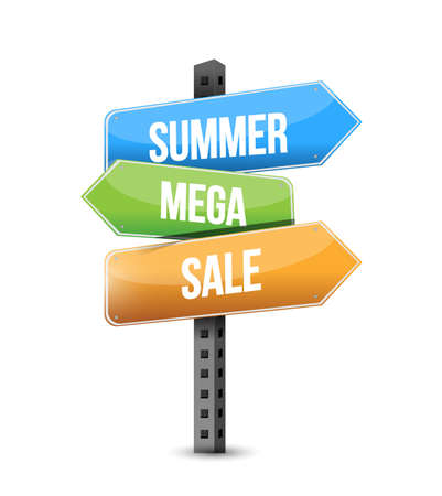 summer mega sale multiple destination line street sign isolated over a white background