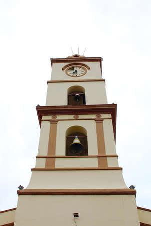 Santa Cruz de la Sierra, Bolivia religious church bell tower over a cloudless sky