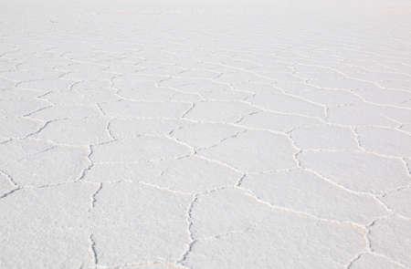Close-up Salar de Uyuni, Salt flat in Bolivia.  Blue Sky and white salt ground. Uyuni, Bolivia