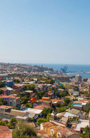 Colorful buildings on the hills of Valparaiso, Chile. Aerial view.
