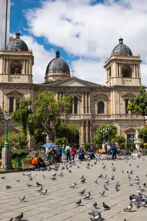 LA PAZ, BOLIVIA, DEC 2018: Plaza Murillo in La Paz, Bolivia city center on a bright summer day. Editöryel