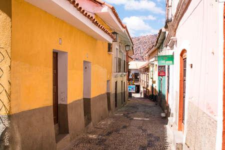 LA PAZ, BOLIVIA DEC 2018: Jaen Street in La Paz, Bolivia city center on a bright summer day.