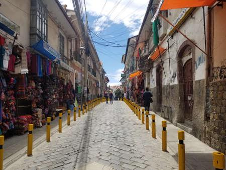 LA PAZ, BOLIVIA, DEC 2018: La Paz, Bolivia streets in city center on a bright summer day