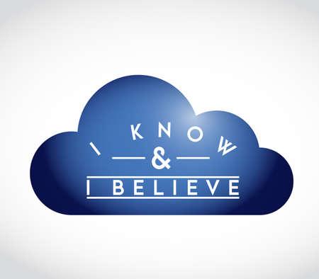 I Know, I Believe union cloud concept. infographic illustration. white Background Illustration