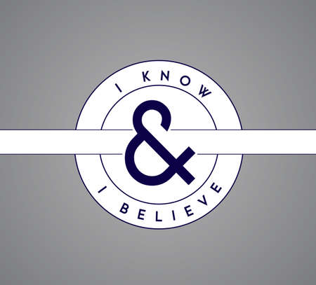 I Know, I Believe puzzle pieces union concept. infographic illustration stamp. Gray Background Illustration