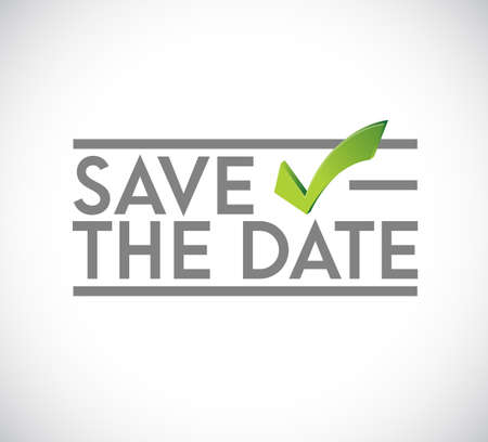 Save the date stamp check mark concept. infographic illustration. white Background Ilustrace