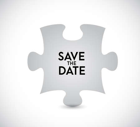 Save the date puzzle missing piece concept. infographic illustration. White Background