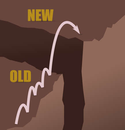 Jumping mountains from past to future concept illustration design graphic