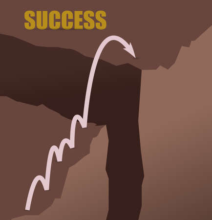 Jumping mountains to achieve success concept illustration design graphic