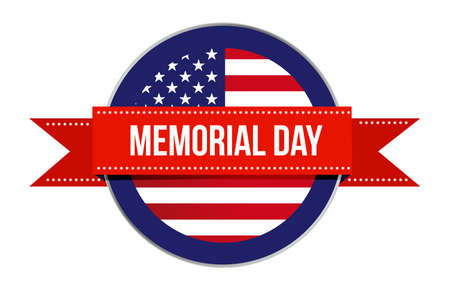 Memorial day sign seal icon illustration isolated over a white background