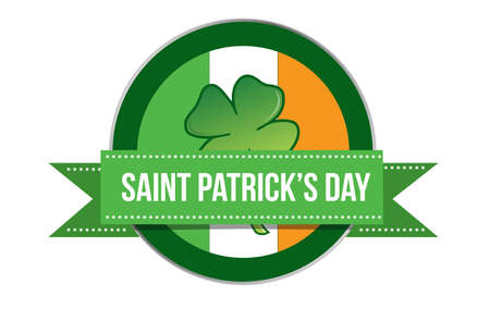 Saint Patricks day. Irish celebration seal illustration isolated over a white background Illustration