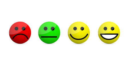 uśmiechnięte twarze poziomy ikony ilustracja na białym tle na białym tle Ilustracje wektorowe