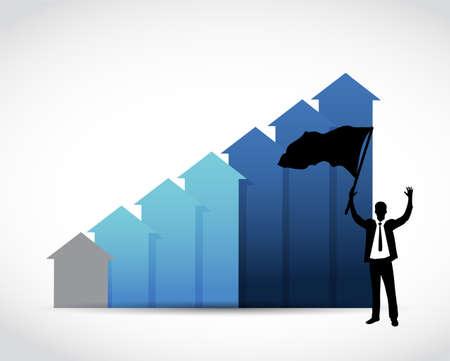 empresario levanta la bandera sobre un gráfico de negocios azul. diseño de ilustración sobre blanco