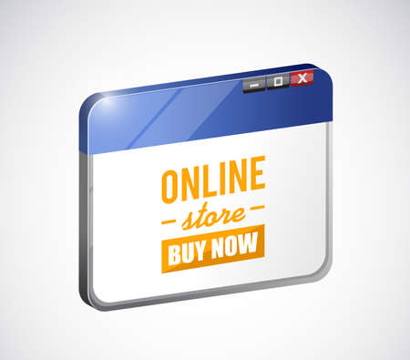 online store buy now sign on a web browser concept illustration over a white background