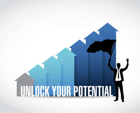 Unlock Your Potential business graph illustration design over a white background Illustration