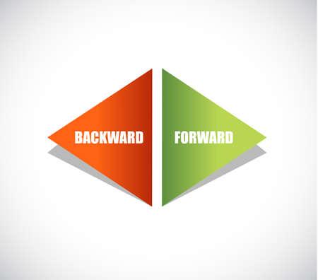 backward and forward arrow sign illustration design over a white background